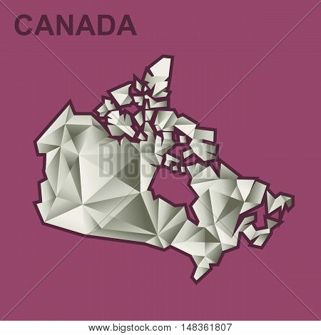Digital vector canada map with abstract silver triangles and burgundy outline, flat style
