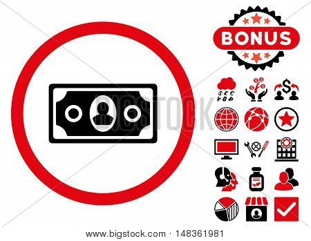 Banknote icon with bonus elements. Vector illustration style is flat iconic bicolor symbols intensive red and black colors white background.