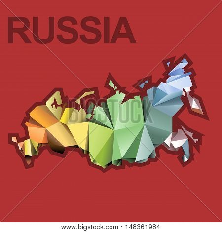 Digital vector russia map with abstract colored triangles and red outline, flat style
