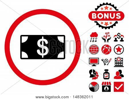Banknote icon with bonus pictures. Vector illustration style is flat iconic bicolor symbols intensive red and black colors white background.