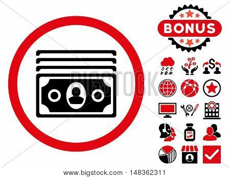 Banknotes icon with bonus elements. Vector illustration style is flat iconic bicolor symbols intensive red and black colors white background.