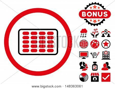 Blister icon with bonus elements. Vector illustration style is flat iconic bicolor symbols, intensive red and black colors, white background.