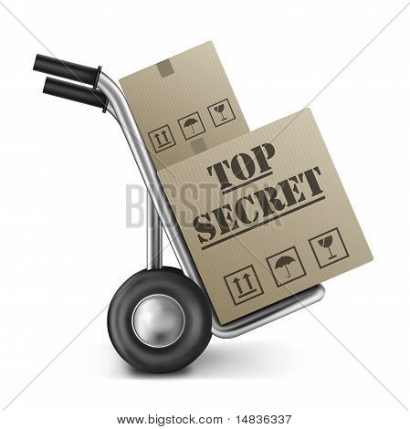 Top Secret Cardboard Box Hand Truck