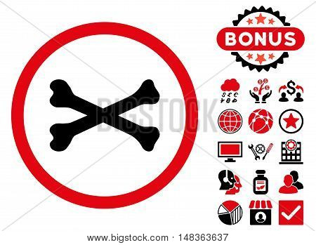Bones Cross icon with bonus elements. Vector illustration style is flat iconic bicolor symbols, intensive red and black colors, white background.