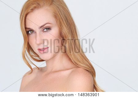 Beauty. Lovely woman in close-up