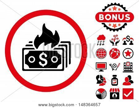 Burn Banknotes icon with bonus pictogram. Vector illustration style is flat iconic bicolor symbols, intensive red and black colors, white background.
