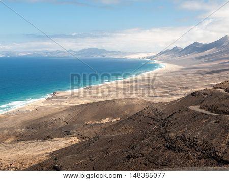 Cofete beach view from Jandia peninsula Fuerteventura Canary Islands Spain