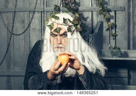 Mythology ancient Greece magic. Zeus god or jupiter with enchanted apple