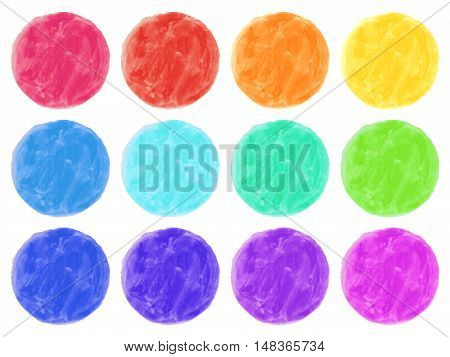 Watercolor circles isolated on white background. Colorful hand painted set. Vector illustration.