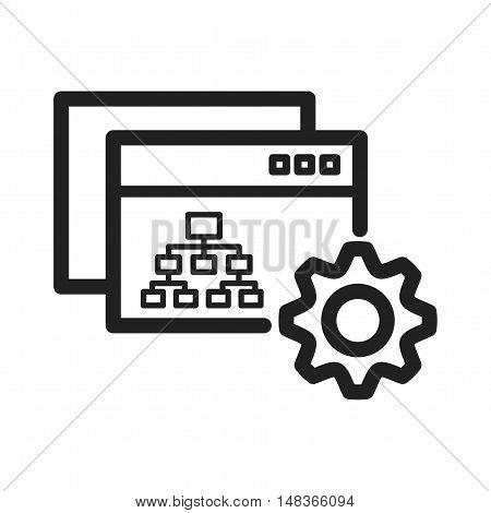 Settings, site map, hierarchy icon vector image. Can also be used for software development. Suitable for use on web apps, mobile apps and print media.