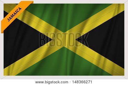 National flag of Jamaica - waving edition