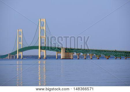 Mackinac suspension bridge at morning, built in 1957, Michigan, USA