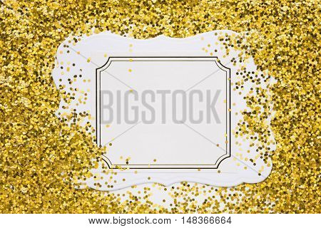 Luxury gold glitter sparkles frame on white with copy space for promotion
