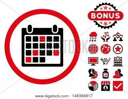 Calendar Appointment icon with bonus pictures. Vector illustration style is flat iconic bicolor symbols intensive red and black colors white background.