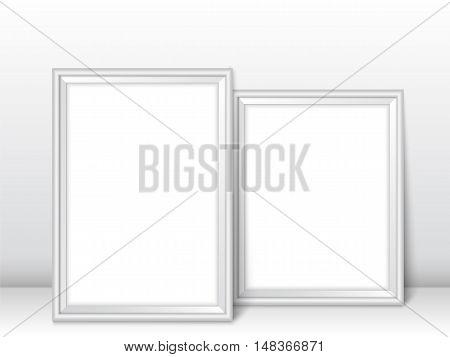 Frames Near Wall Realistic Templates Vector Illustration Silver