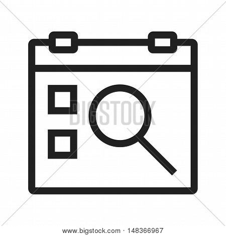 Event, find, calendar icon vector image. Can also be used for user interface. Suitable for mobile apps, web apps and print media.