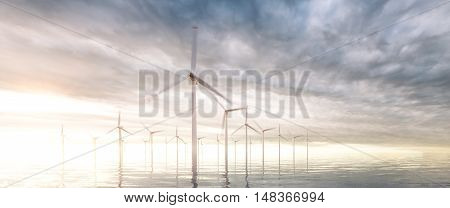 Ultra wide image of coastal wind park with sunset stormy sky in background. 3d rendering.