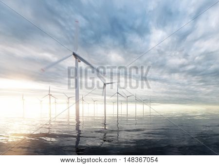 Offshore wind power plants with sunset stormy sky in background. 3d rendering.