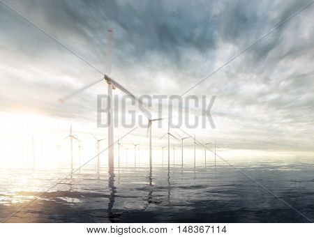 Offshore wind turbines with sunset stormy sky in background. 3d rendering.