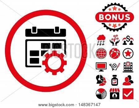 Calendar Settings icon with bonus pictures. Vector illustration style is flat iconic bicolor symbols, intensive red and black colors, white background.