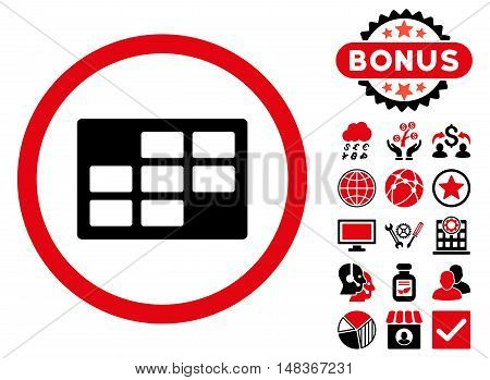 Calendar Table icon with bonus pictogram. Vector illustration style is flat iconic bicolor symbols, intensive red and black colors, white background.