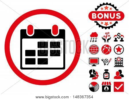 Calendar icon with bonus elements. Vector illustration style is flat iconic bicolor symbols, intensive red and black colors, white background.