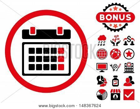 Calendar icon with bonus images. Vector illustration style is flat iconic bicolor symbols, intensive red and black colors, white background.
