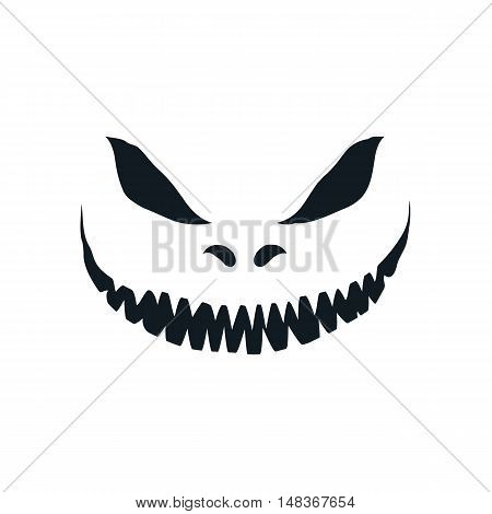 Scary face isolated on white background. Template for Halloween greeting card poster, brochure or flyer. Vector illustration.