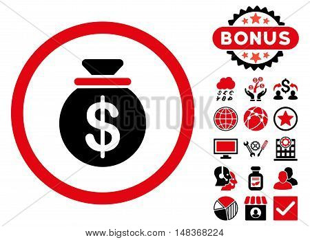Capital icon with bonus images. Vector illustration style is flat iconic bicolor symbols, intensive red and black colors, white background.