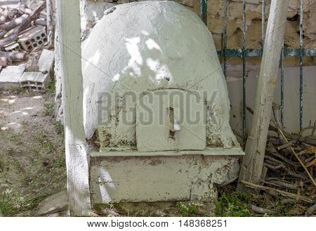 Vintage outdoor Greek style run down oven
