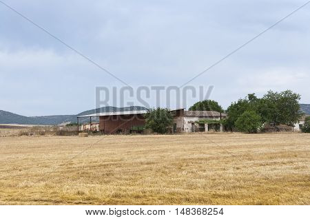 Farmhouse in an agrarian landscape in Ciudad Real Province Spain