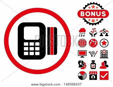 Card Processor icon with bonus pictogram. Vector illustration style is flat iconic bicolor symbols, intensive red and black colors, white background.