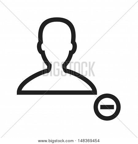Delete, male, profile icon vector image. Can also be used for user interface. Suitable for mobile apps, web apps and print media.
