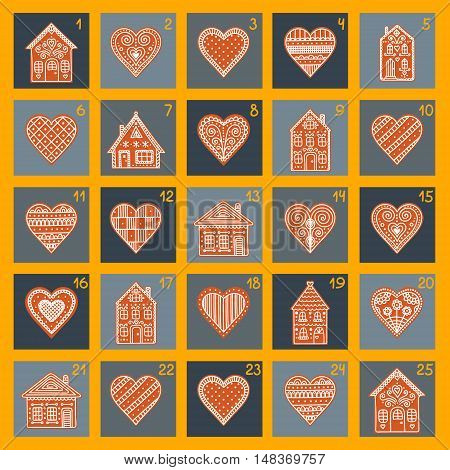 Advent calendar. Vector Christmas card with doodle gingerbread houses and hearts.