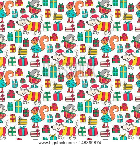 Winter animals and gifts. Seamless pattern with doodle hedgehog squirrel and a dog. Christmas background with presents. Cute design for kids.