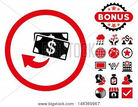 Cashback icon with bonus design elements. Vector illustration style is flat iconic bicolor symbols, intensive red and black colors, white background.