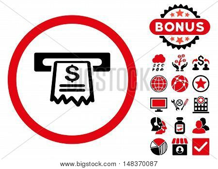 Cashier Receipt icon with bonus elements. Vector illustration style is flat iconic bicolor symbols intensive red and black colors white background.