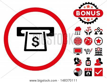 Cashout Slot icon with bonus images. Vector illustration style is flat iconic bicolor symbols intensive red and black colors white background.