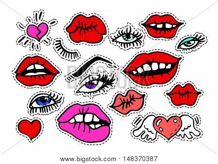 Fashion modern doodle cartoon patch badges or stickers with sexy kiss red lips eyelashes hearts, glances. Set of cartoon pins in 80s 90s pop art. Vector Illustration.