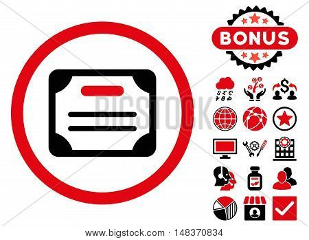 Certificate icon with bonus elements. Vector illustration style is flat iconic bicolor symbols intensive red and black colors white background.