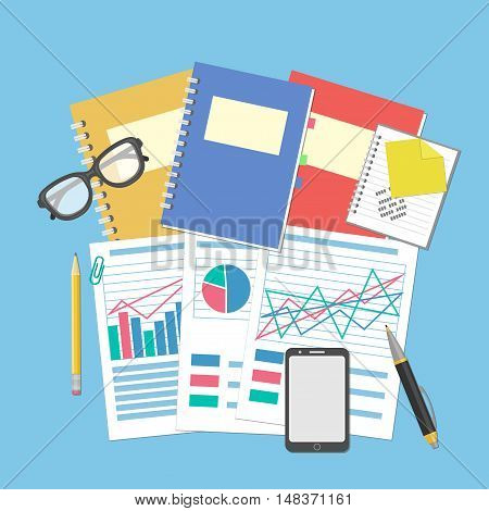 The documents and graphics on the desktop. Concept for business planning and accounting, analysis, Financial Audit, SEO analytics, tax audit, working, management. Glasses, notebook, smartphone. Vector
