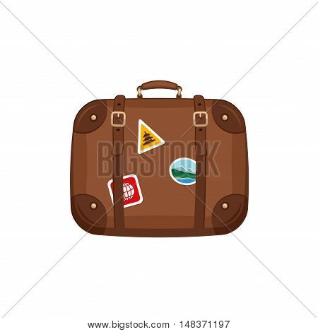 Travel bag suitcase with stickers on isolated white background. Summer travel handle luggage. Traveling equipment. Flat vector icon illustration.