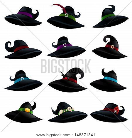 Witch hats isolated on a white background. Set of witch hats in cartoon style for Halloween. Vector illustration.
