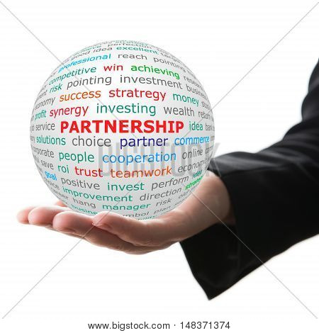 Partnership concept. Hand take white ball with wordcloud and Partnership word in red color.