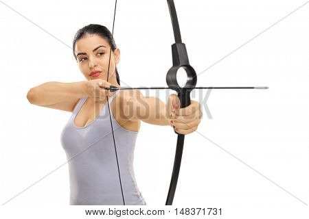 Woman aiming with a bow and arrow isolated on white background