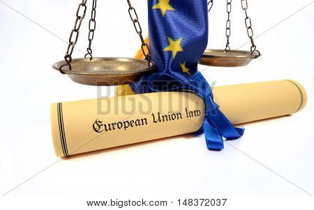 European union law scales of Justice European union flag isolated on the white background.
