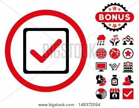 Checkbox icon with bonus elements. Vector illustration style is flat iconic bicolor symbols, intensive red and black colors, white background.