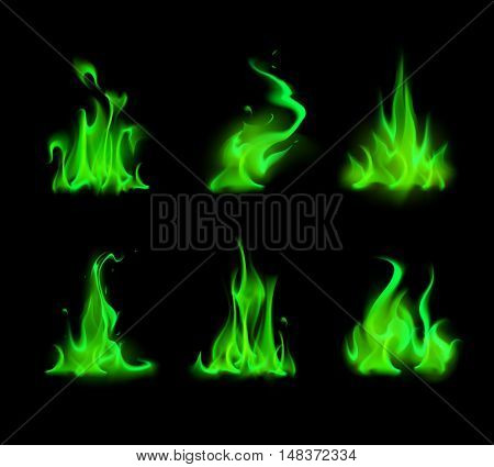 Vector Set of  Different Magic Green Fire Flame Bonfire Isolated on Background