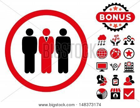Clerk Staff icon with bonus elements. Vector illustration style is flat iconic bicolor symbols, intensive red and black colors, white background.