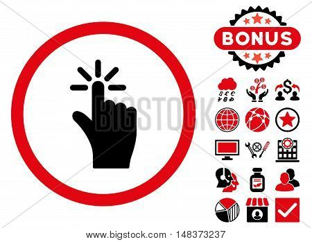 Click icon with bonus pictures. Vector illustration style is flat iconic bicolor symbols, intensive red and black colors, white background.
